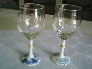 金彩ワイン 染付葡萄 薔薇